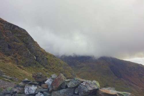 highland mountain rocks grass landscape