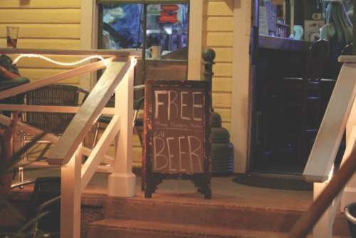 free beer sign bar typography