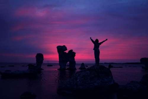 purple pink sky sunset dusk