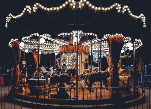 carnival carousel street food fun night