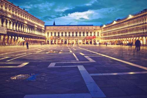Piazza San Marco Venice Italy square people