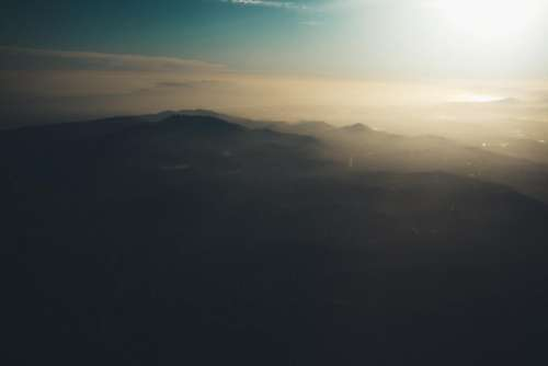 aerial view sky sunset mountains