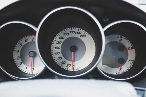 car dashboard speedometer tachometer gauges