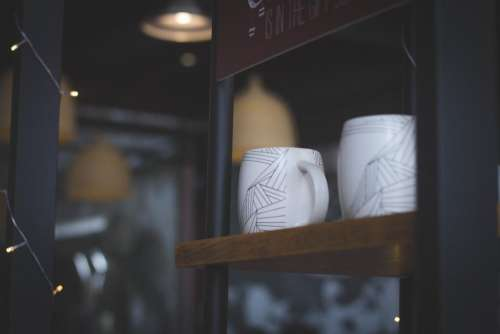 cup mug display wooden shelf
