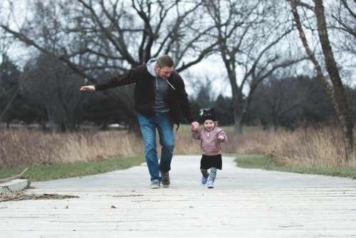man child running family people