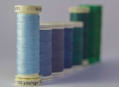 threads colors row queue sewing