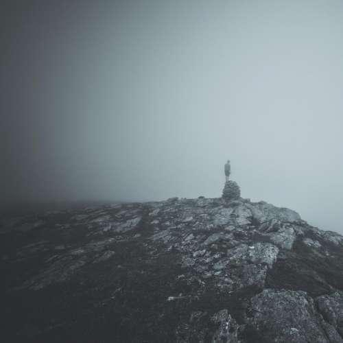 mountain hill rock peak black and white