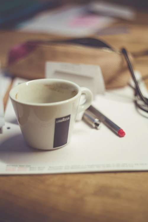cup paper office pen work