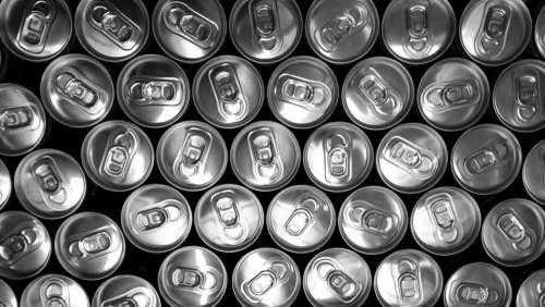cans drinks beverage pop tabs black and white