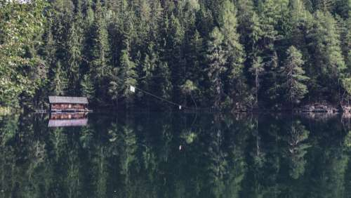 nature water lake reflection cabin