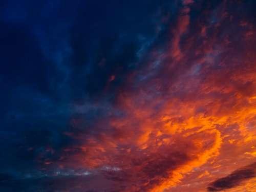 sunset sky orange dusk clouds