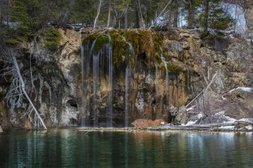 waterfall stream water nature green