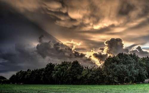 sunshine sunrays sky clouds trees