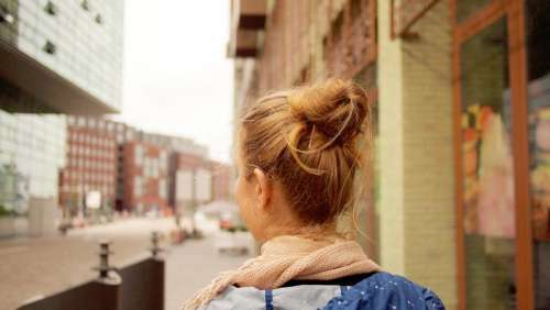 buildings city people girl woman