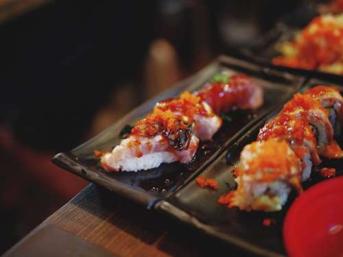 sushi food shrimp rice plate