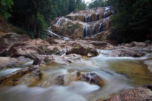 waterfall stream water spring nature