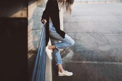 girl woman jeans fashion shoes