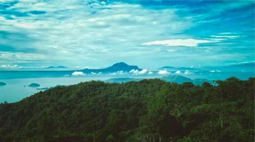 landscape blue sky trees mountains