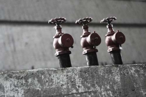 fire hydrant sprinklers hose concrete industrial