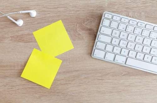 lifestyle office desk sticky notes