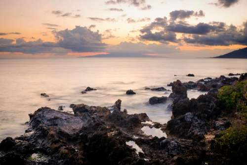 sea ocean blue water rocks