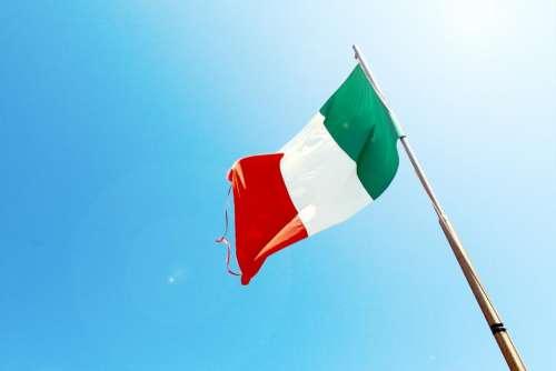 Italy Italian flag blue sky