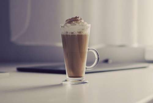 coffee latte whipped cream glass breakfast