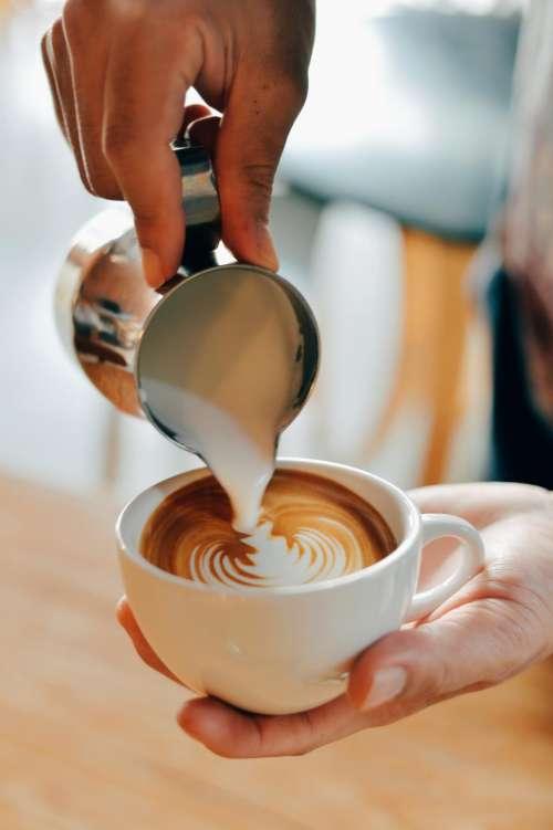 hand palm steamed milk coffee