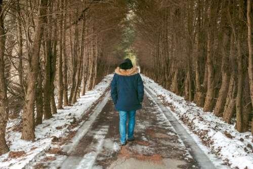 trees snow fur hood people