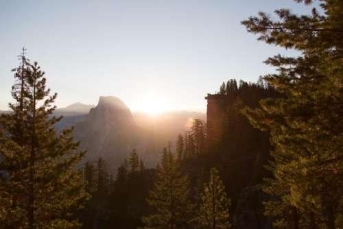 sunrise mountain highland valley landscape