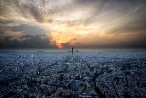 aerial paris sunset city skyline