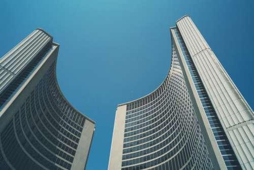 buildings architecture blue sky city