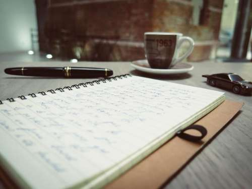 notebook notes diary pen coffee