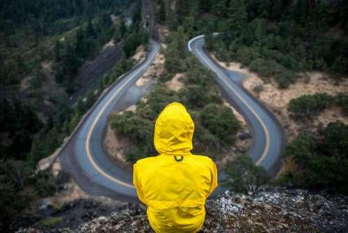 yellow jacket rain coat people rural
