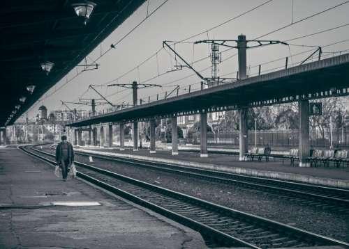 railway railroad train tracks transportation people