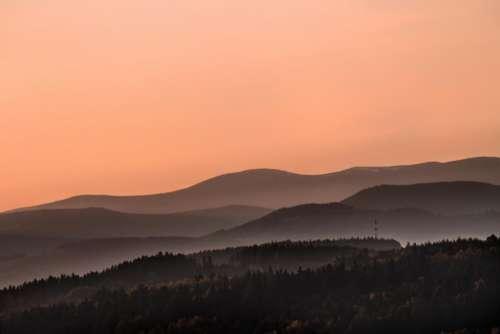 sky sunset mountain highland valley
