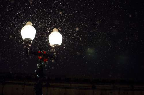 night dark street lights winter snow