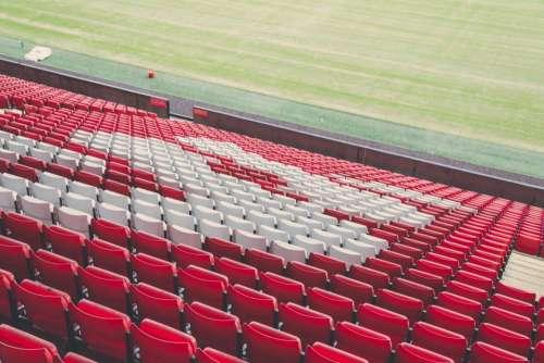 red white seats chairs stadium