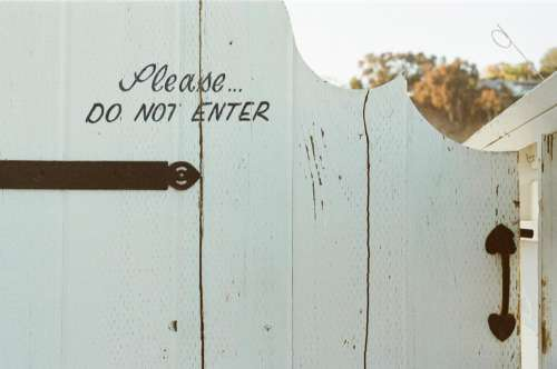 gate wood white do not enter handle