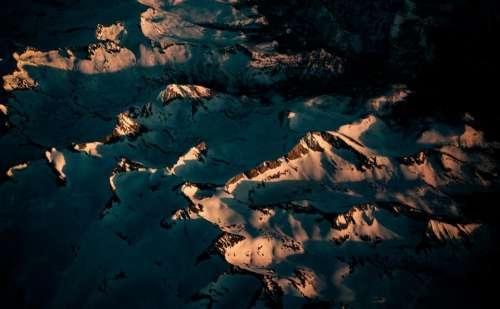 aerial view mountain landscape snow