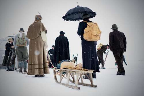 people snow winter men umbrella