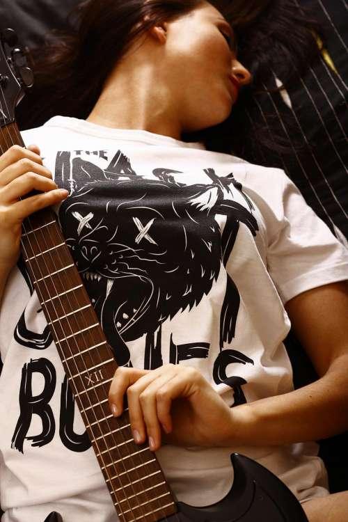 electric guitar instrument music girl woman