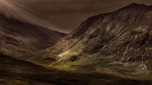 dark sky mountain highland landscape