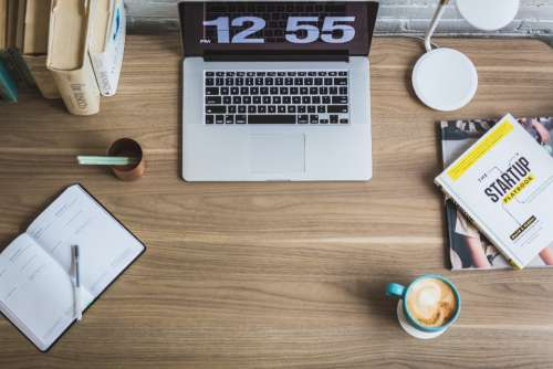 digital clock laptop desk office