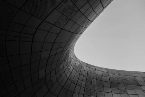 black curves lines dark architecture