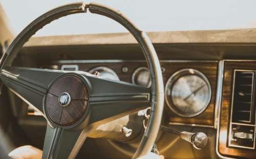 vintage old classic car steering wheel