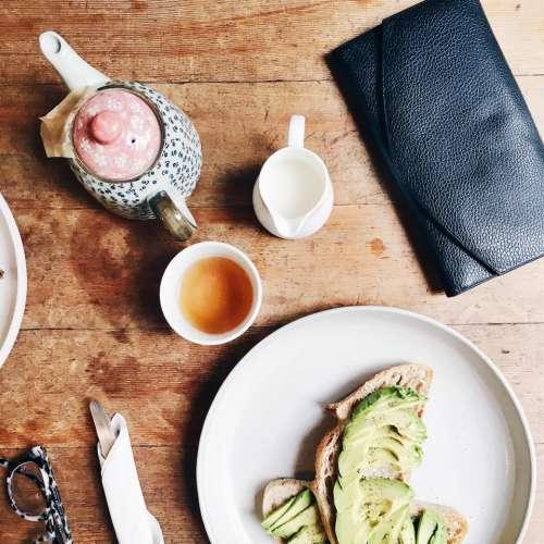 bread avocado breakfast diet table