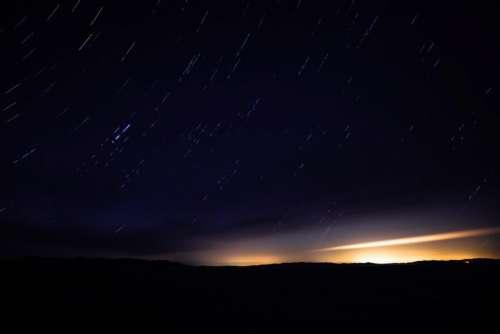 dark night sky stars nature mountain