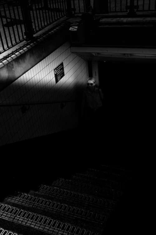 dark black and white monochrome architecture road