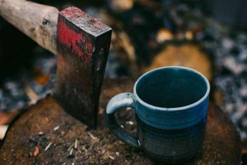 axe wood firewood drink mug